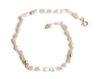 Freshwater Pearl Bracelet with 14K Clasp and Gold Beads