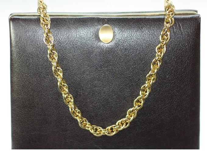 Dark Brown Structured Leather Handbag Gold Chain Lopez Argentina Vintage