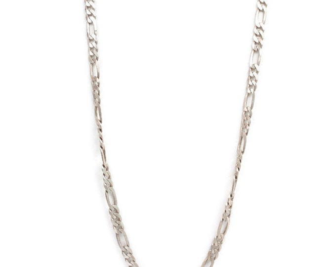 Sterling Figaro Chain Necklace 24 Inch Unisex Italian Silver