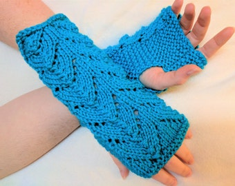 Fingerless Gloves Mitts in Blue - Knit in a Lovely Lace - fits adult hands