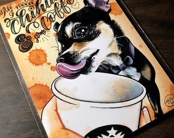 Chihuahuas and Coffee (5x7 print)