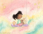 Once Upon a Rainbow Sky - African American Girl on Swing with Teddy Bear and  Bunny - Fine Art Print