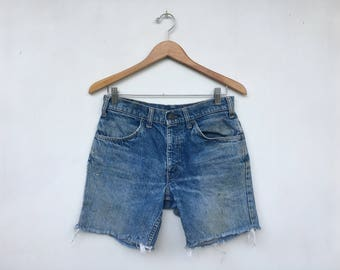Vintage 70s Distressed Orange Tab Levis Cut Off Denim Shorts 28/30