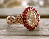 Oval Diamond Engagement Ring in 14K Rose Gold with Rubies and Diamond in Vine Setting Size 6 - RESERVED for Anthony