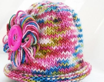HOLIDAY SALE - Photo Prop Baby Hat, Loopy Flower, Big Button, Bright Pink Multi Color, Hand Dyed Merino Wool