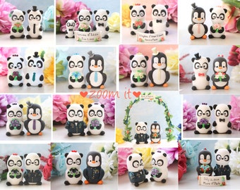 Panda unique cake toppers for wedding - personalized bride and groom figurines cute gift anniversary black white coral pink blue decorations