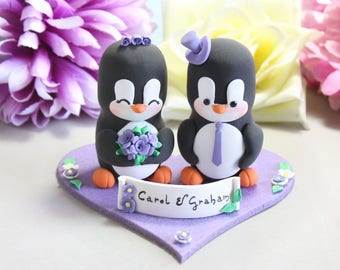 Unique wedding cake topper Penguins + felt base/stand bride groom cake toppers wedding black white purple elegant cute personalized