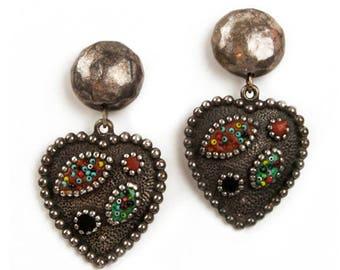 1980s GAS BIJOUX St Tropez Pewter Antique Silver Tone Oversized Heart Pendant Vintage Drop Dangle Clip Earrings