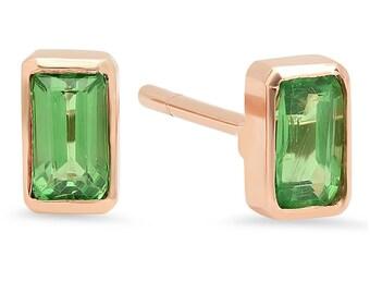 Baguette Earrings, Sapphire Earrings, Emerald Earrings, Post earrings, Gold post, Stud Earrings, Petite Earrings.