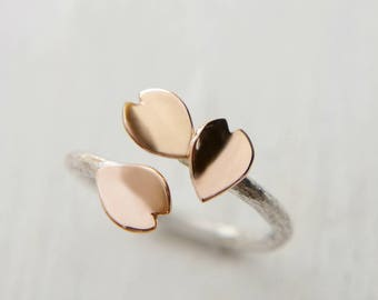 18k Rose Gold Cherry Blossom Petal Ring, Japanese Jewelry, Silver Open Ring