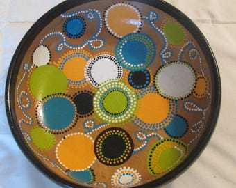 upcycled vintage wood bowl hand painted bright dots & MacKenzie Childs checks decor