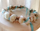 Baby Photo prop flower crown Blue Aqua Dried Floral hair wreath silk Ivory ranunculus wedding accessories bridal halo custom for maxleajet