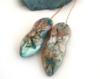 Heavily Textured Pods Polymer Clay Textured Shimmery Opalescent Finish, Salmon, Green & Golden  Copper Headpins Numi- Poly Pair (2)