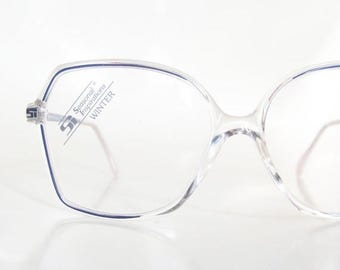 ON SALE 1980s Avant-garde Clear Oversized Granny Chic Glasses Womens New Wave Fashion Eighties Indie Hipster Chic German Germany Hipster Ind