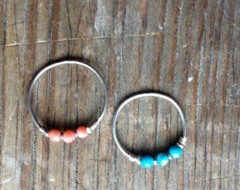 Sterling Silver Ring with coral stone or turquoise