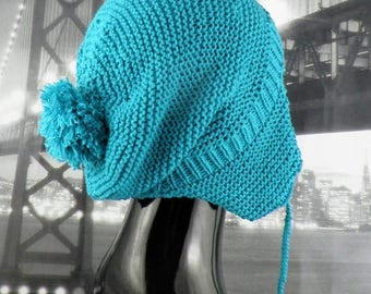 50% OFF SALE Instant Digital File pdf download knitting pattern - Bobble Garter StitchTrapper Slouch Hat knitting pattern by MADMONKEYKNITS