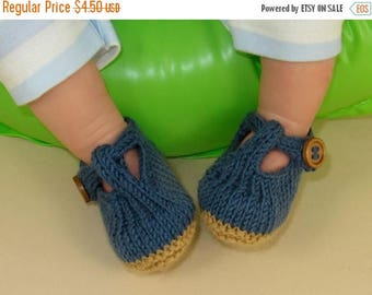 50% OFF SALE knitting pattern digital pdf download - Baby T Bar Sandals  pdf download knitting pattern