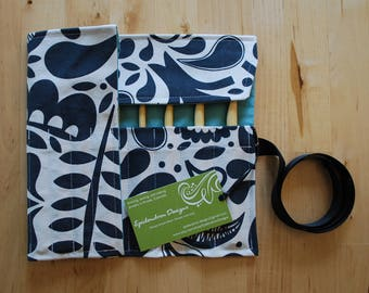 LAST ONE Crochet Hook Case / Organizer / Holder - Charcoal and White Paisley Fabric