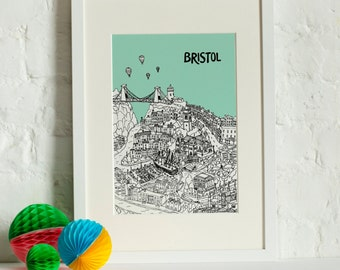 Personalised Bristol Print | Bristol Gift | First Anniversary Gift | Engagement Gift | Unique Wedding Gift | Travel Related Gift | Bristol