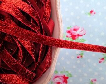 Metallic Velvet Glitter Ribbon - Ruby Red - 3/8 inch - 2 Yards