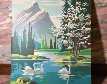 Vintage Paint By Number SWANS Landscape Painting 60s 70s