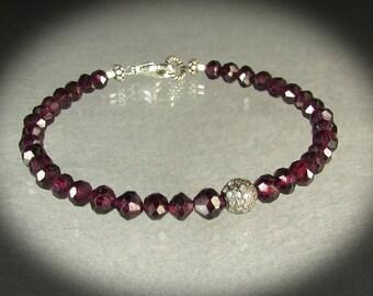 Little Galaxy gemstone beaded bracelet with Diamond pave focal bead and burgundy red faceted garnet/ braelet/handmade/girl's gift/VNV Design