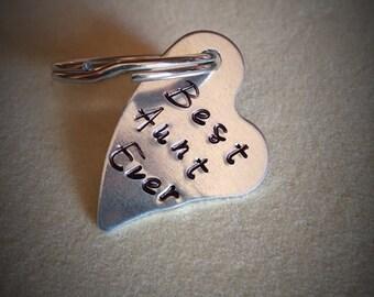 Keychain, Best Aunt Ever Keychain, Aunt gift, heart, hand stamped, Aunt Christmas gift, Aunt birthday gift