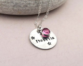 Hand stamped Stars Personalised Necklace, name necklace, birthstone