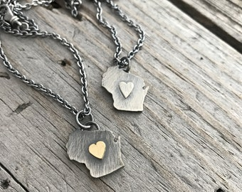 Sterling Silver Wisconsin Necklace Sterling Silver Wisconsin Heart Charm Handmade Wild Prairie Silver Jewelry