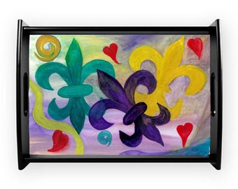 Mardi Gras fleur de lis and hearts serving tray from my art, available in 2 styles and several sizes