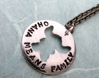 Stitch -  Ohana Means Family - Hand Stamped Precious Metal Pendant Necklace Lilo & Stitch