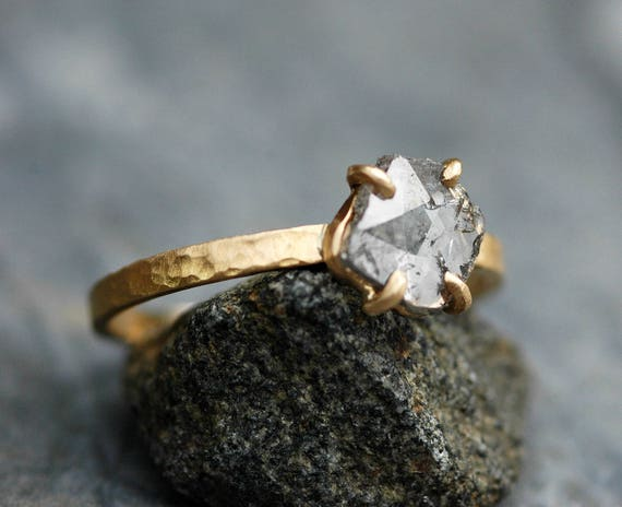 ON SALE- Large Diamond Slice in Recycled 18k and 14k Yellow Gold Ring- Ready to Ship Size 9.5