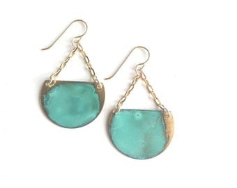 Verdigris Brass Crescent Earrings