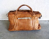 Vintage Camel Leather Weekend or Overnight Bag with Shoulder Strap. Circa 1960's.