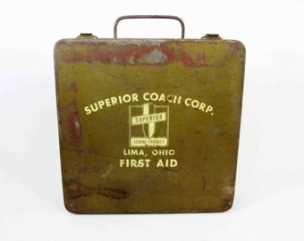 Vintage First Aid Kit in Olive Drab. Circa 1960's.