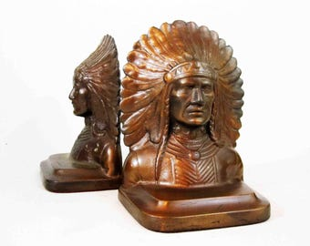 Antique Native American Chief Bookends in Bronze. Circa 1880's - 1910's.