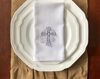 "Embroidered Easter Cross Dinner Napkins, set of 4, 16"" x 16"", 100% White Cotton"