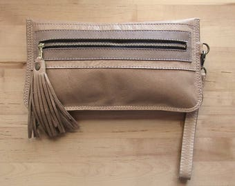 Beige leather clutch, Nude clutch, neutral leather purse, Leather Wallet, leather fringe tassel, iphone clutch, wristlet, credit card slots