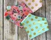 Drool Bib Bandana Bibdana Waterproof - You Choose the Print - trendy gold pink blush mint polka dot floral Riley Blake