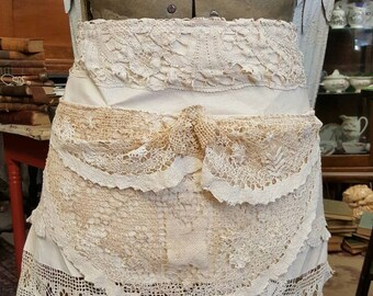 SALE - Fancy Pants Tattered Lace Boho Waist Apron from Rustysecrets