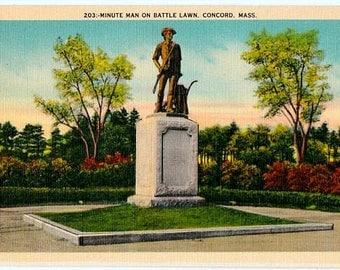 Vintage Massachusetts Postcard - The Minute Man Statue, Concord (Unused)