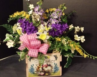 Spring Easter Silk Flower Arrangement