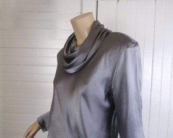 Gray Liquid Silk Sci Fi Blouse- 1980s / 80s / 90s Cowl Neck Tunic by Anne Klein- Minimal / Futuristic