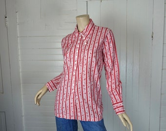 60s Cotton Blouse in Red & White Floral Print- 1960s Hippie / Boho / Festival- Extra Large / XL / Plus