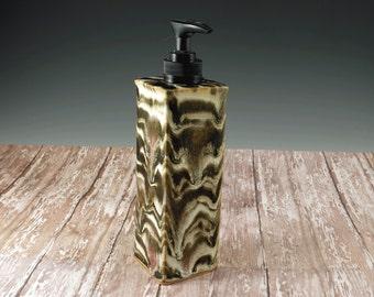 Bathroom Decor - Ceramic Soap Dispenser - Pottery Soap Pump - Kitchen Soap Dispenser - Hand Soap - Liquid Soap - Yellow and Brown