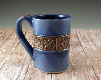 Watercolor Blue Pottery Mug - Handmade Large Ceramic Teacup - Wood Block Pattern - by Botanic2Ceramic - 698
