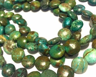 REAL TURQUOISE lentils full strand coin shaped beads