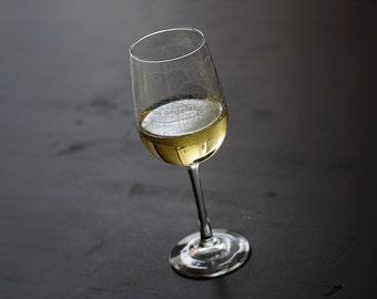 Los Angeles Map Wine Glass