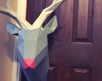 Reindeer Red Nose papercraft. You get a PDF digital file templates and instructions for this DIY (do it yourself) modern paper sculpture.