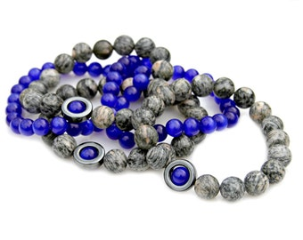 Black Spider Jasper Bracelets Cobalt Blue Cats Eye Shiny Hematite Beaded Stacking Semi Precious Set Sleek Modern Boho Chic Style Mei Faith
